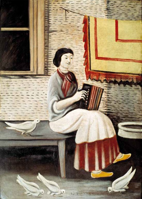 Sona playing on accordion - Niko Pirosmani
