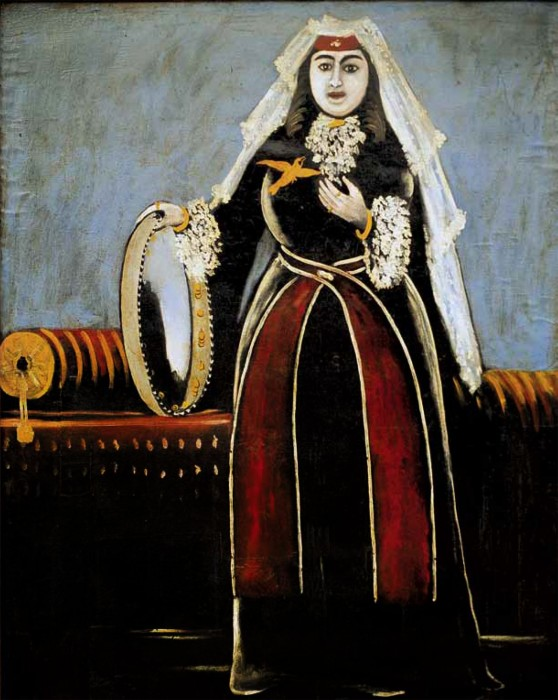Georgian woman with Lechaki (Georgian woman with tambourine) - Niko Pirosmani