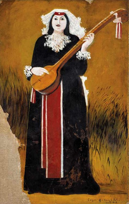 Georgian woman with Thari (musical instrument) - Niko Pirosmani