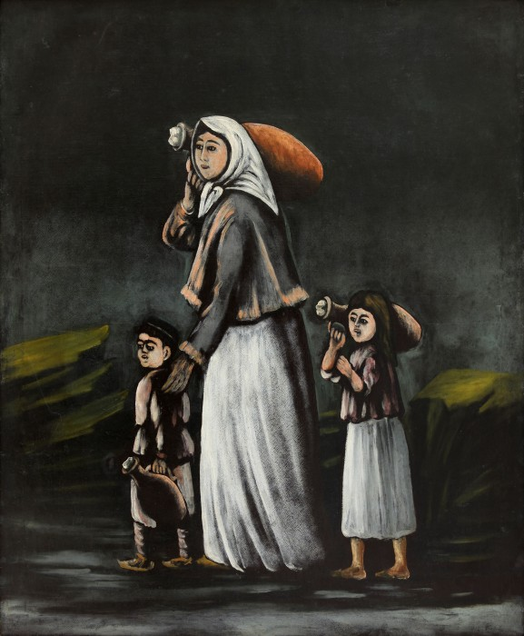 Woman with children goes for water - Niko Pirosmani