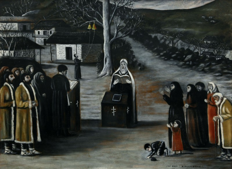 Prayer in a village - Niko Pirosmani