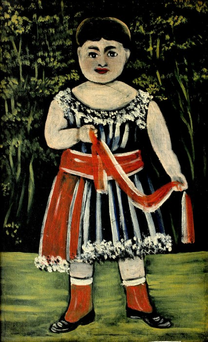 Little girl with a red bow - Niko Pirosmani