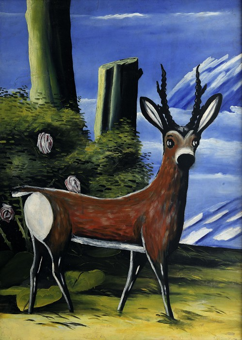Roe deer with a landscape in the background - Niko Pirosmani