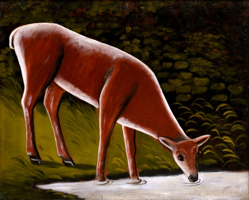 Roe deer by the brook - Niko Pirosmani