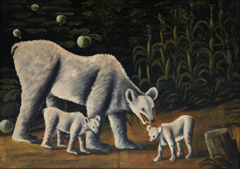 White bear with her cubs (in cornfield) - Niko Pirosmani