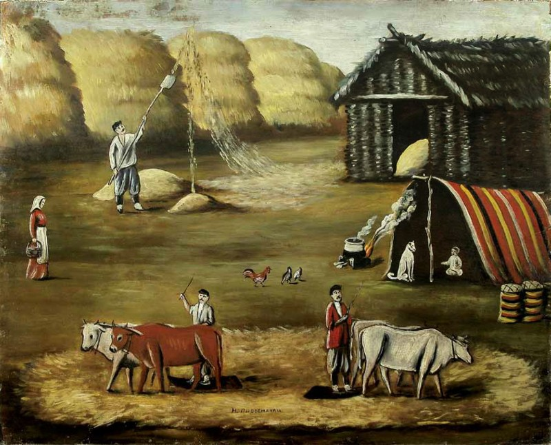 Threshing yard. Evening - Niko Pirosmani