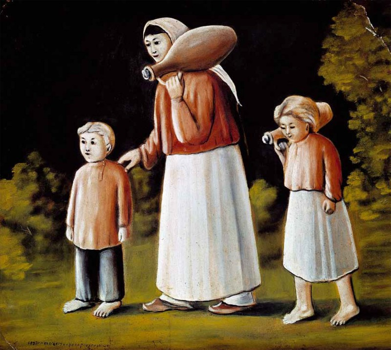 Georgian woman with children - Niko Pirosmani